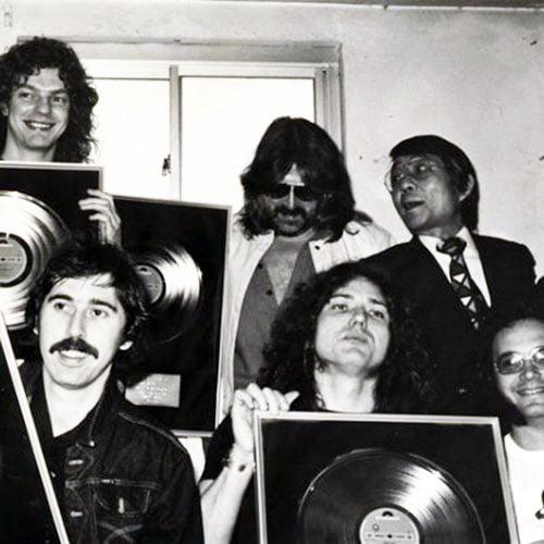 Members of Whitesnake 1981 holding gold discs